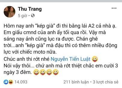 Cầu Tiến Luật thi trượt bằng lái xe, Thu Trang nhận cái kết quá chát-1