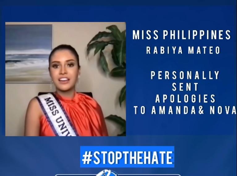 Hoa hậu Hoàn vũ Philippines xin lỗi đối thủ Thái Lan, Canada-1