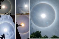 Bất ngờ xuất hiện vòng tròn sáng rực trên bầu trời Hạ Long khiến dân tình rần rần
