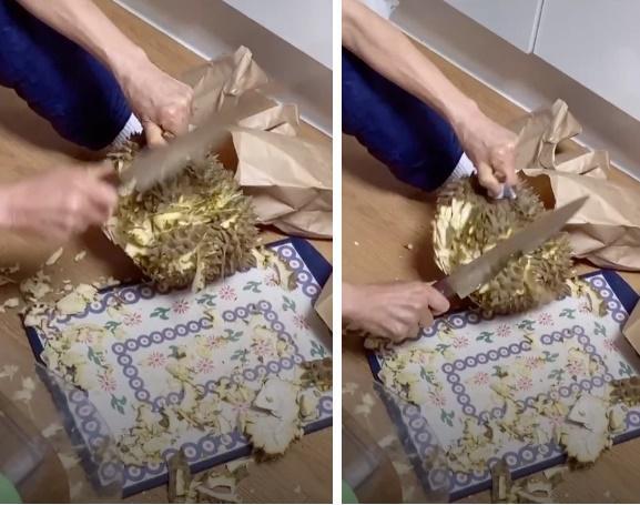 Bà cụ Hàn Quốc bổ sầu riêng như chặt dừa khiến nhiều người Việt xem mà tức cái lồng ngực-1
