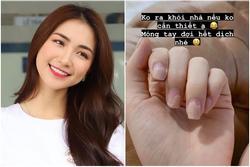 Dịch Covid-19 không thể ra tiệm, móng tay Hòa Minzy nham nhở thấy thương