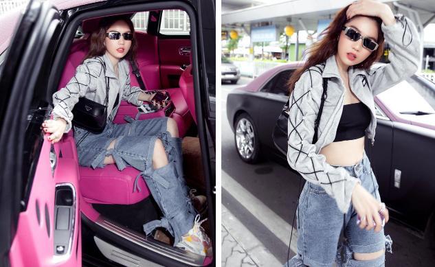 Vừa diện quần jeans 140 triệu, Ngọc Trinh vội quay xe với kiểu quần độc dị-2