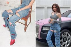 Vừa diện quần jeans 140 triệu, Ngọc Trinh đã vội 'quay xe' với kiểu quần độc dị