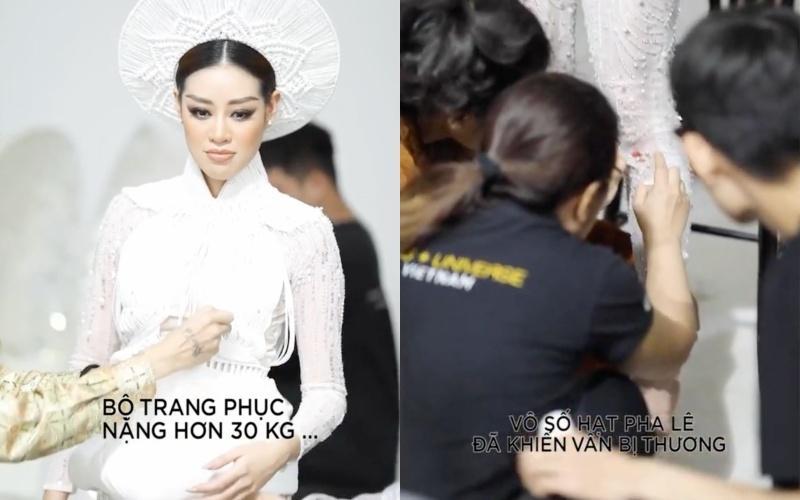 Khánh Vân bầm dập vì Quốc phục Kén Em khiến fan lo cho đêm chung kết Miss Universe-1