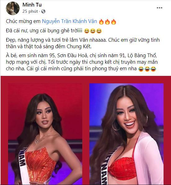 Khánh Vân thi bán kết Miss Universe 2020, dàn sao Việt dậy sóng-13