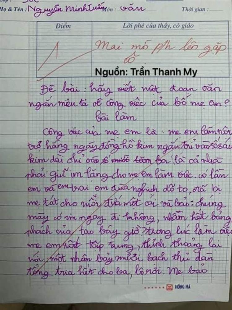 Nhóc tiểu học làm văn bóc phốt mẹ, đọc câu chốt mới hiếm có khó tìm-3