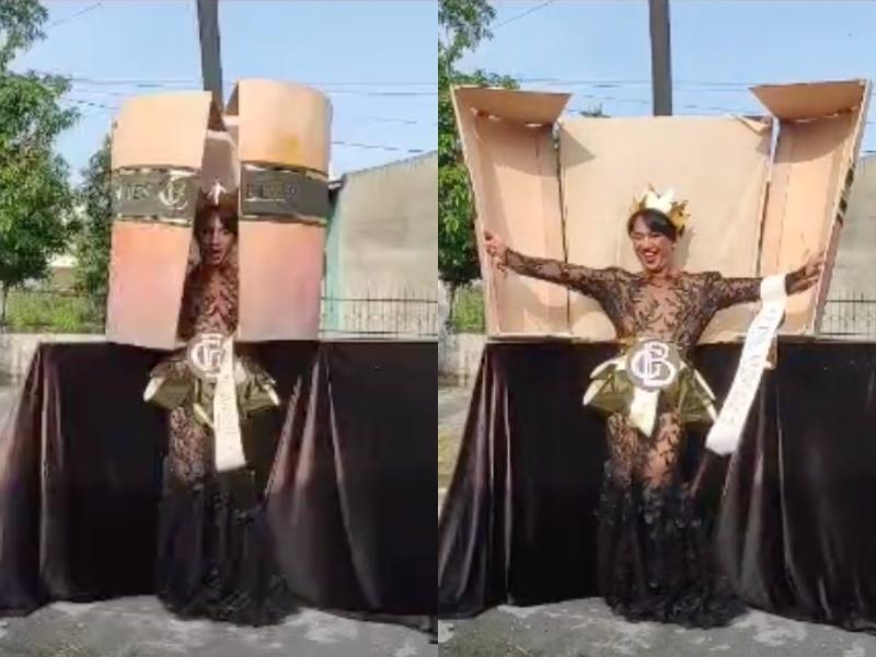 Quốc phục Kén Em của Khánh Vân ở Miss Universe bị nhái phản cảm-1