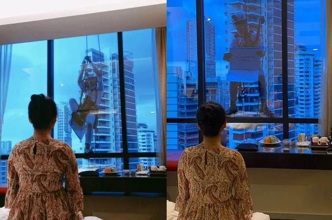 Nhìn ra cửa kính tòa nhà từ tầng 17, cô gái ngạc nhiên khi thấy bạn trai treo lơ lửng-2