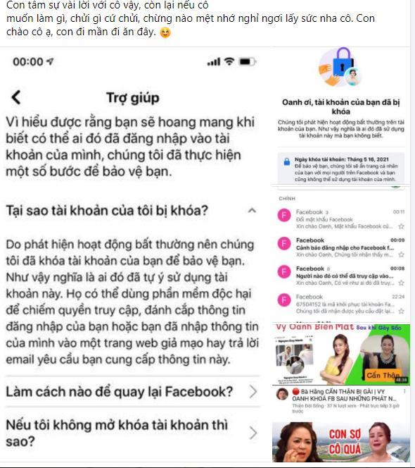 Vừa được trả Facebook, Vy Oanh lập tức viết status xọc bà Phương Hằng-3