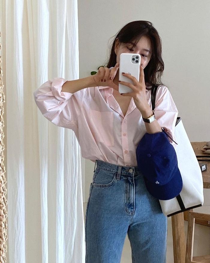 Diện áo sơ mi đơn sắc xinh như gái Hàn, vừa dễ mix đồ lại trẻ trung!-2