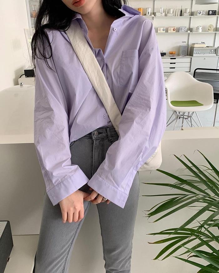 Diện áo sơ mi đơn sắc xinh như gái Hàn, vừa dễ mix đồ lại trẻ trung!-10
