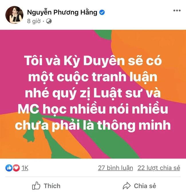 Bà Phương Hằng khẩu chiến MC Kỳ Duyên: Nói nhiều đâu phải thông minh-1