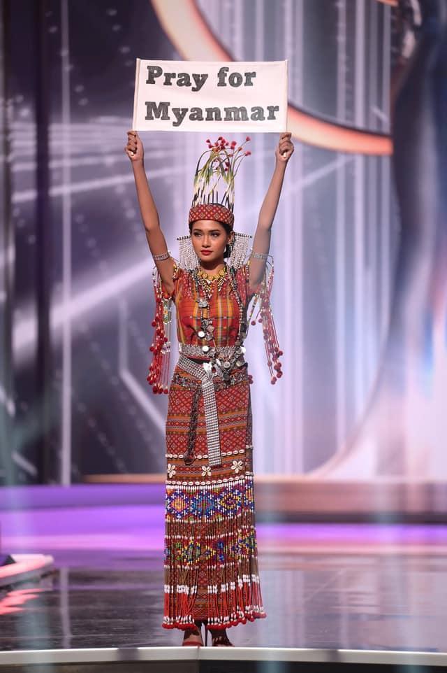 Hoa hậu Myanmar bị truy nã sau khi cầu cứu tại chung kết Miss Universe 2020?-1