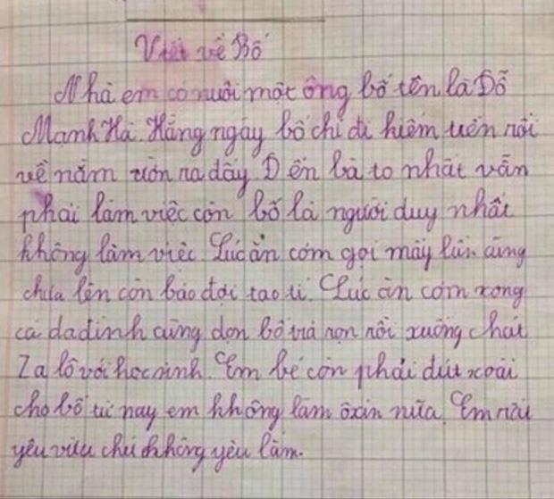 Nhóc tiểu học làm văn tả bố chân ngắn, chỉ mê gái đọc cười muốn sảng-4