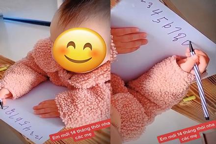 Xôn xao bé gái 14 tháng tuổi biết đếm số, viết từ 1 - 10 như người lớn