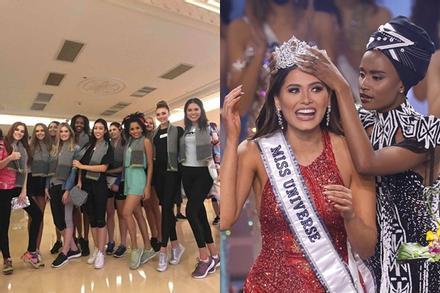 Đỗ Mỹ Linh chụp hình cùng tân Miss Universe, chiều cao cột đèn - máy nước