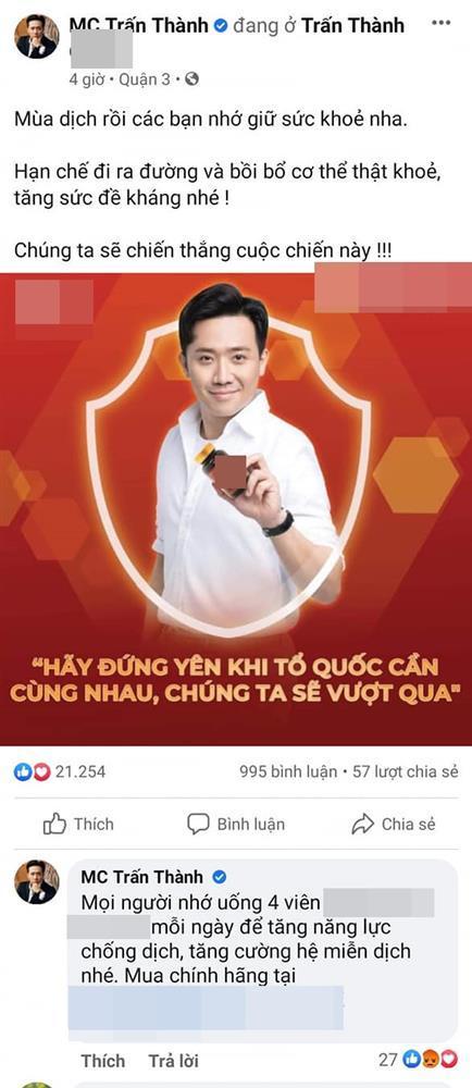 Trấn Thành bất ngờ xóa bài quảng cáo sau vài tiếng đăng tải