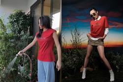 Kỳ Duyên dù đứng tưới cây hay vào studio 'chụp choẹt' chỉ diện 1 kiểu áo phông