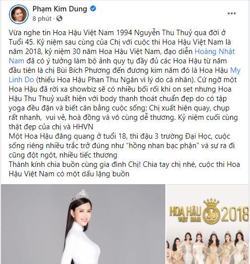 Sao Việt bàng hoàng khi hay tin hoa hậu Thu Thủy qua đời-1