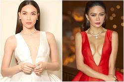 Hà Hồ 'đụng' Mâu Thuỷ váy của NTK Công Trí: Khí chất 'mẹ bỉm' có thắng vòng 1 ngồn ngộn của Á hậu?