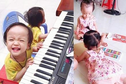 Những hình ảnh mới nhất của cặp song Nhi: Tự bước đi, vui vẻ đàn hát và tập tô