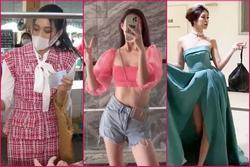 Thời trang 'phang' hoàn cảnh: Đỗ Thị Hà mặc đầm tweed mua thịt, Khánh Vân đội vương miện đi đổ rác