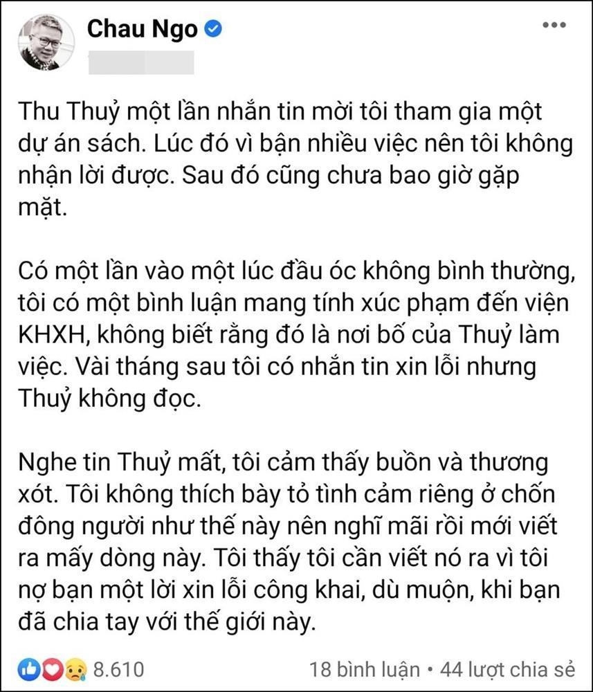 Giáo sư Ngô Bảo Châu gửi lời xin lỗi muộn màng tới hoa hậu Thu Thủy-3
