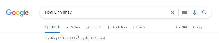 Từ khóa Hoài Linh nhảy thống trị top tìm kiếm, cho 17.7 triệu kết quả trong 0.37 giây-1