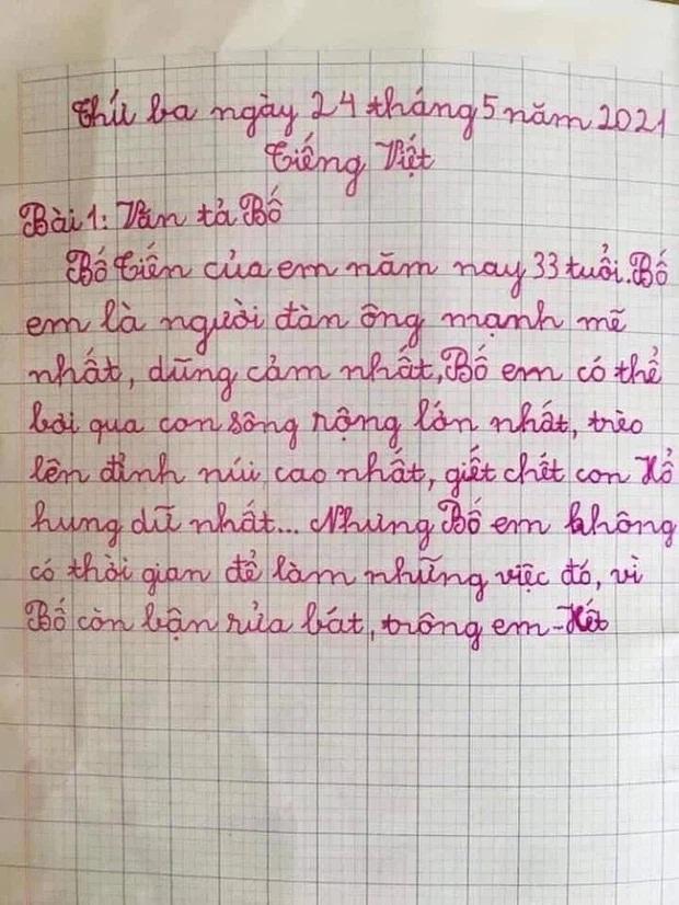 Nhóc tiểu học làm văn tả bố chân ngắn, chỉ mê gái đọc cười muốn sảng-2