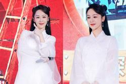 Dương Tử đi họp báo, mặc váy trắng gợi nhắc Cẩm Mịch ở 'Hương mật tựa khói sương', người bé xíu gây chú ý