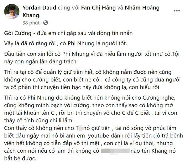 Nhâm Hoàng Khang xin lỗi Phi Nhung, đọc chỉ thấy một trời đá đểu-1