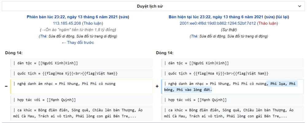 Phi Nhung bị đổi tên trên Wikipedia sau liên hoàn phốt-5