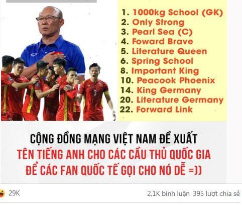 Cười sái hàm người hâm mộ phiên âm tên Anh cho cầu thủ tuyển Việt Nam-2