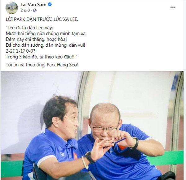 Nhà báo Lại Văn Sâm viết thơ ghi lời dặn thầy Park với trợ lý Lee trước trận gặp UAE-1