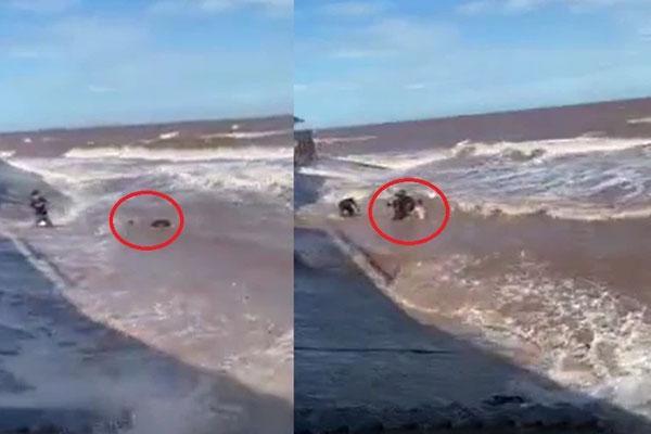 Clip: Thót tim nhìn thanh niên bị sóng dữ cuốn chới với giữa biển ở Nam Định-2