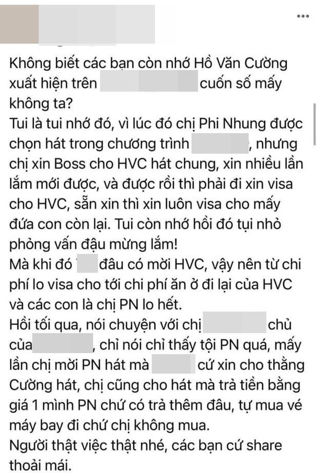Phi Nhung nhiều lần xin để Hồ Văn Cường diễn ở Mỹ dù chỉ mời 1 mình nữ ca sĩ-1