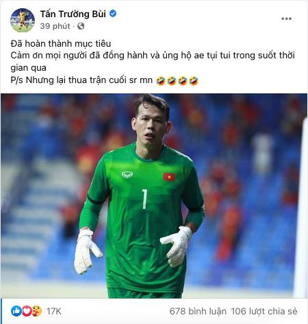 Thủ môn Tấn Trường xin lỗi vì để thua UAE, đồng loạt người nổi tiếng vỗ về-2
