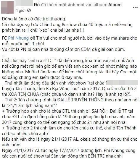 Lưu Chấn Long phản dame chứng minh Phi Nhung thực sự đòi tiền đổ xăng 40 triệu-2