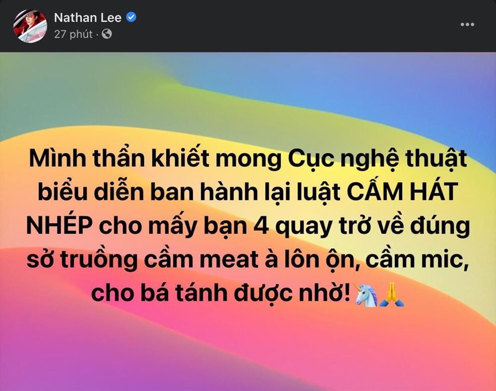 Nathan Lee đề nghị khôi phục lệnh cấm hát nhép ngay sau khi Ngọc Trinh ra MV-3