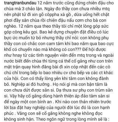 Trang Trần thừa nhận trùm sân si, cố gắng hành thiện tích phước-3