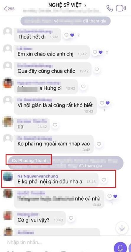 Phương Thanh, Nguyễn Văn Chung nói rõ việc tham gia group chat chấn động showbiz-1