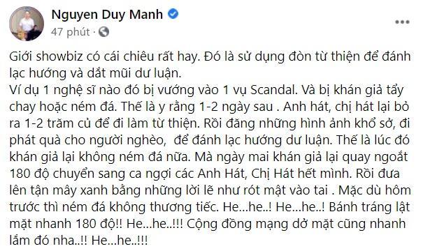 Duy Mạnh bóc chiêu từ thiện tẩy trắng scandal của giới nghệ sĩ Việt-2