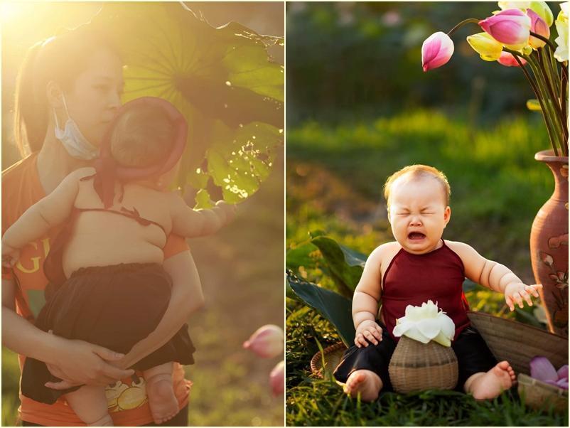 Khóc ngất bên hoa sen, công chúa 9 tháng tuổi biểu cảm ôi quá hài-1
