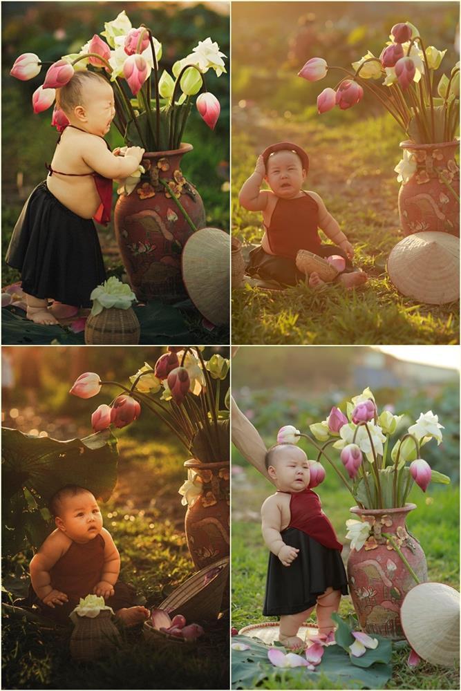 Khóc ngất bên hoa sen, công chúa 9 tháng tuổi biểu cảm ôi quá hài-2