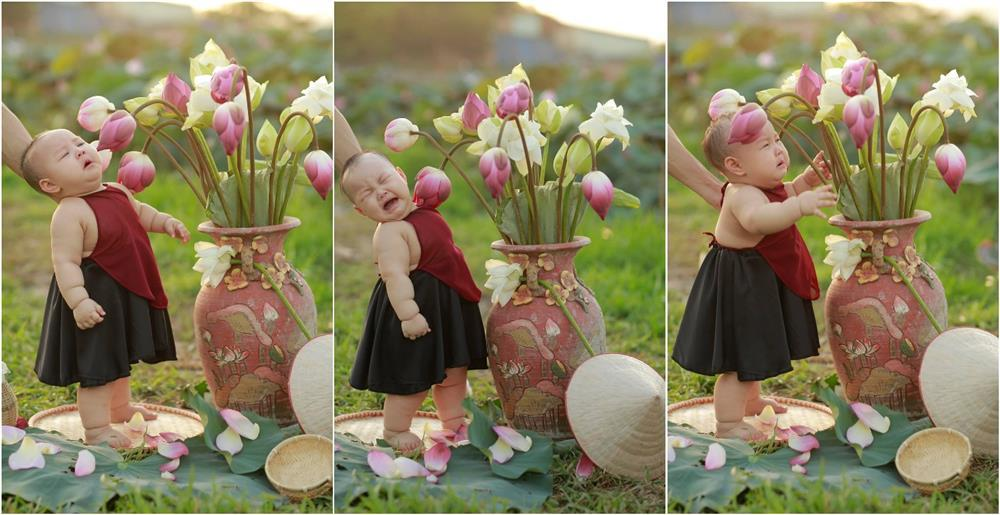 Khóc ngất bên hoa sen, công chúa 9 tháng tuổi biểu cảm ôi quá hài-4