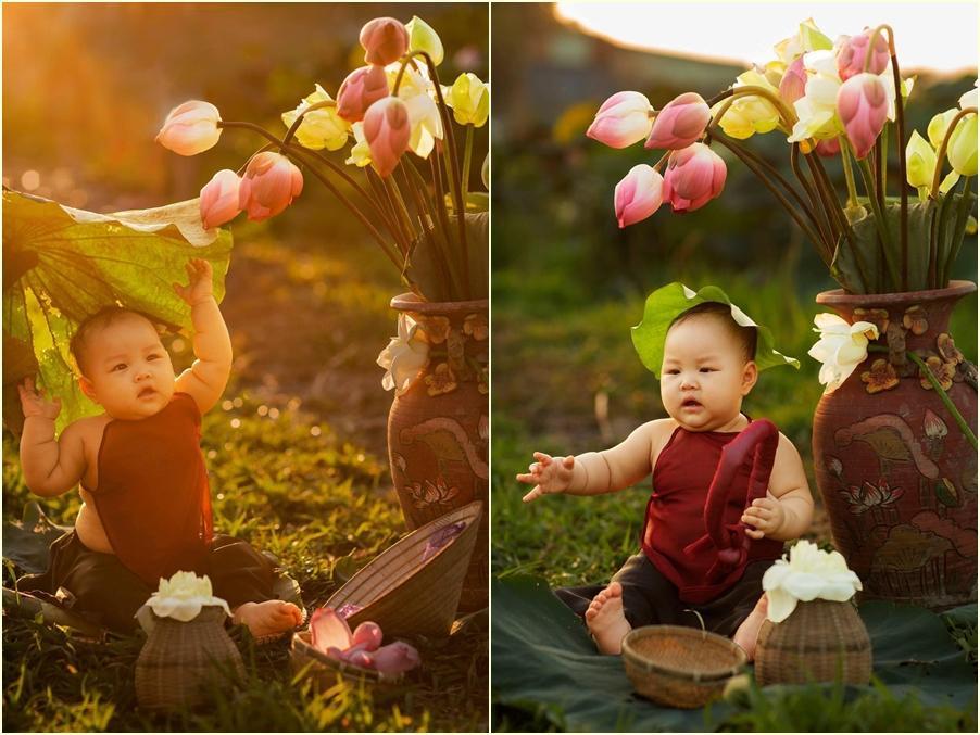 Khóc ngất bên hoa sen, công chúa 9 tháng tuổi biểu cảm ôi quá hài-7