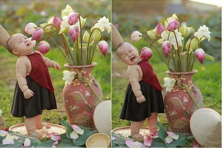 Khóc ngất bên hoa sen, công chúa 9 tháng tuổi biểu cảm ôi quá hài