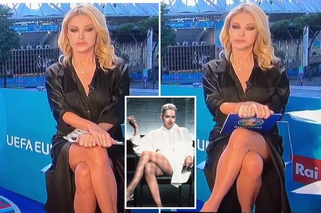 Nữ MC nóng bỏng vắt chân hớ hênh, lộ việc không mặc nội y dẫn bản tin Euro-2