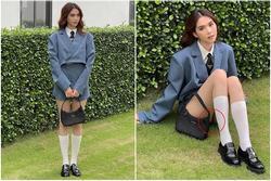 Ngọc Trinh mặc váy nữ sinh ngắn đến độ 'lộ hàng' kém sang