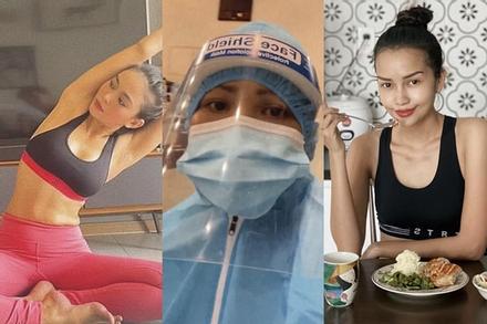 Hỗ trợ chống dịch, H'Hen Niê - Mâu Thủy vẫn tập yoga, ăn uống healthy